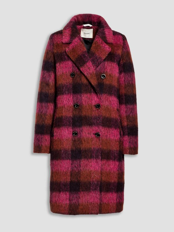 Beaumont brushed wool check coat