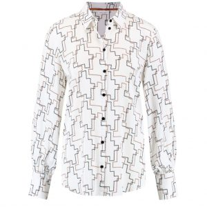 Gerry Weber Ecru/White/Brown Print blouse